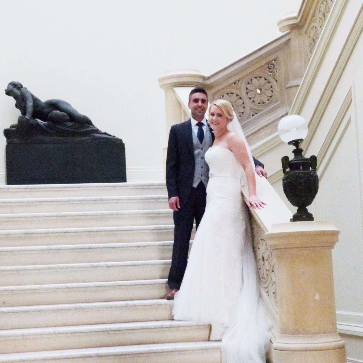 Bride-Groom-on-Stairs